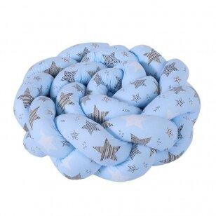 Защитные бортики на кроватку Коса Stars Blue