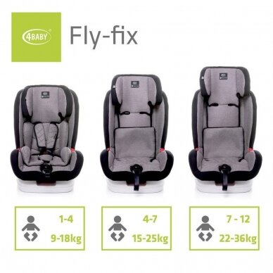 Autokėdutė 4baby FLY-FIX  9-36 Red 6