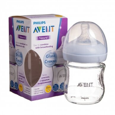 Avent buteliukas stiklinis Natural 120 ml SCF051/17
