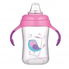 Mokomasis puodelis su silikoniniu snapeliu Canpol BIRDS 56/519 Pink