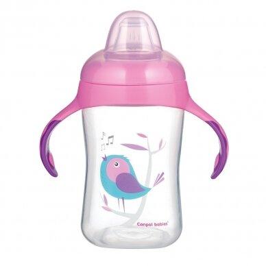 Mokomasis puodelis su silikoniniu snapeliu Canpol BIRDS 56/519 Pink 2