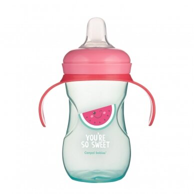 Mokomasis puodelis su silikoniniu snapeliu Canpol SO COOL 57/304 Pink