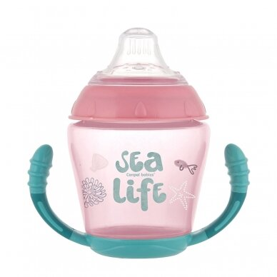 Puodelis neišsiliejantis susilikoniniu snapeliu Canpol SEA LIFE 56/501 Pink