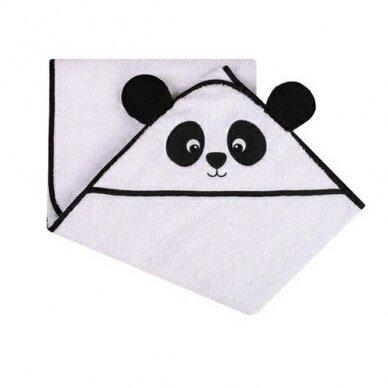 Rankšluostis kūdikiui 3D su gobtuvu ANIMAL-Panda
