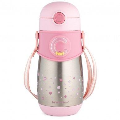 Termo-buteliukas su silikoniniu vamzdeliu 300ml Canpol 74/054 Pink