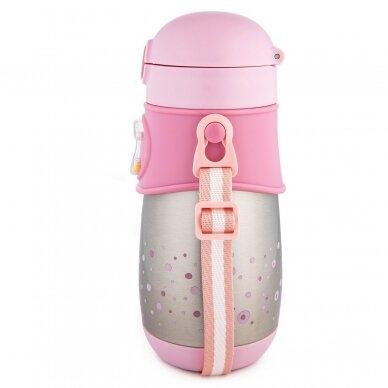 Termo-buteliukas su silikoniniu vamzdeliu 300ml Canpol 74/054 Pink 2