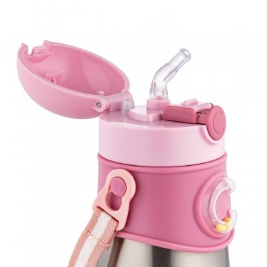 Termo-buteliukas su silikoniniu vamzdeliu 300ml Canpol 74/054 Pink 3