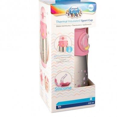 Termo-buteliukas su silikoniniu vamzdeliu 300ml Canpol 74/054 Pink 4